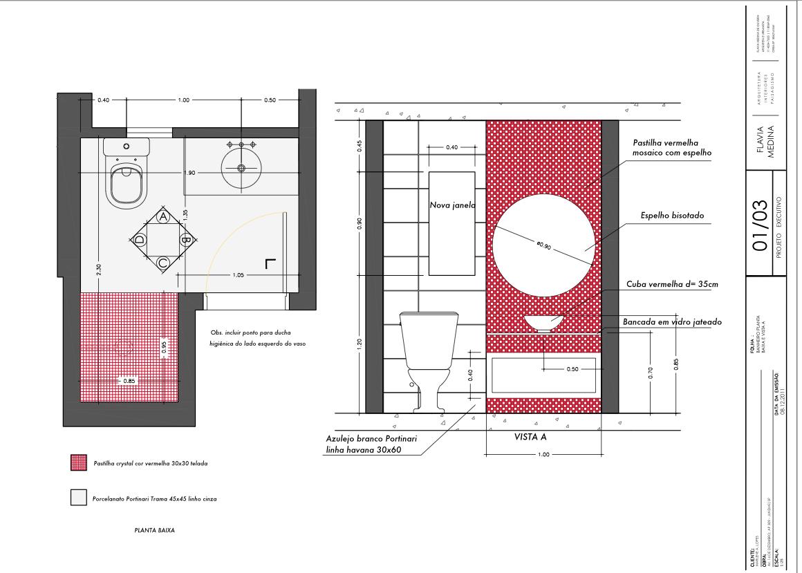 Flavia Medina Arquitetura – Arquitetura construção projetos  #9F2C3F 1160x829 Banheiro Branco Com Detalhe Vermelho
